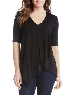 Pencil Sleeve Drape Jersey Top