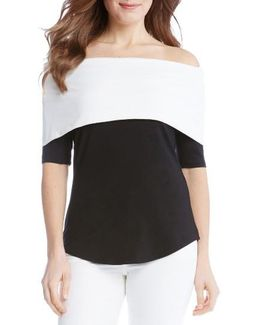 Colorblock Off The Shoulder Top