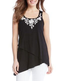 Embroidered Asymmetrical Tank