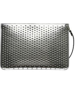 Loubiclutch Spiked Leather Clutch - Metallic