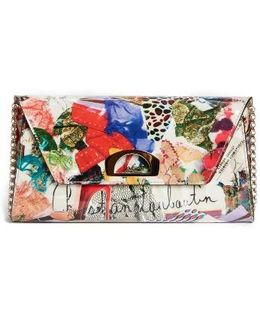 Vero Dodat Trash Print Patent Leather Clutch - None