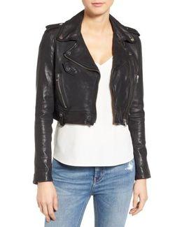 Washed Leather Crop Moto Jacket