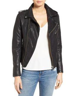Washed Lambskin Leather Moto Jacket