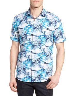 Shaped Fit Ocean Print Sport Shirt