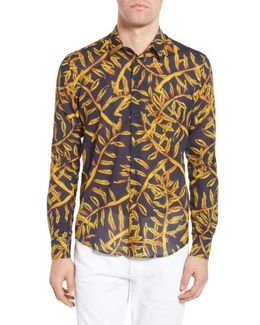 Vilbrequin Gold Palms Voile Sport Shirt