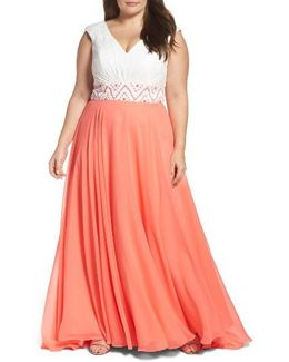 Colorblock Lace & Chiffon Gown