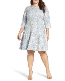 Pintuck Lace Fit & Flare Dress