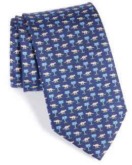 Dinosaur Print Silk Tie