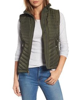 Contrast Trim Quilted Vest