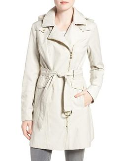 Belted Asymmetrical Zip Trench Coat