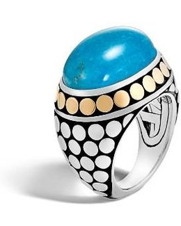 Dot Silver & Turquoise Dome Ring