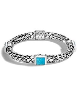Classic Silver & Turquoise Chain Bracelet