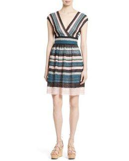 Metallic Ribbon Lace Dress