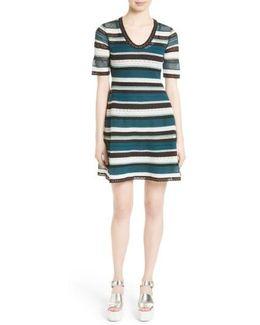 Lace Stripe T-shirt Dress