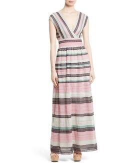 Lace Stripe Maxi Dress