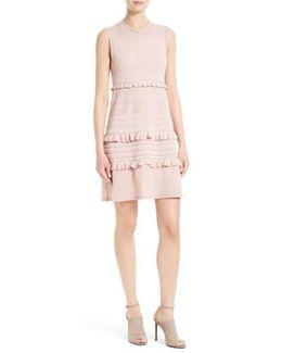 Ruffle Metallic Mouline Knit Dress
