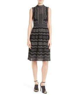 Ripple Dot Fit & Flare Dress