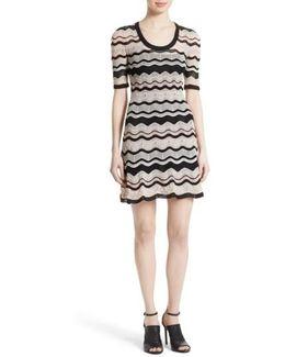 Ripple Ribbon Fit & Flare Dress