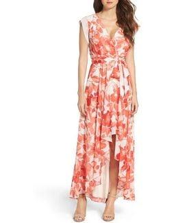 Surplice Obi High/low Dress