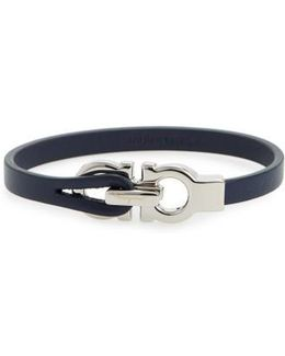 Double Gancini Leather Bracelet