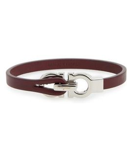 Double Gancini Leather Bracelet