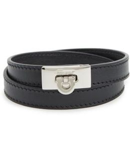 Gancini Double Wrap Leather Bracelet