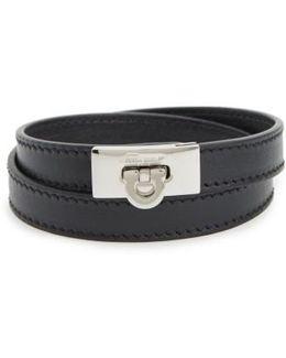 Gancini Double Wrap Leather Bracelet