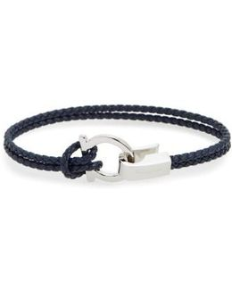 Double Braided Gancini Leather Bracelet