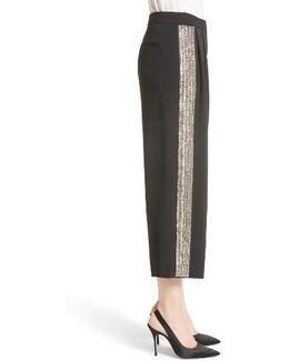 Embellished Wide Leg Crop Pants