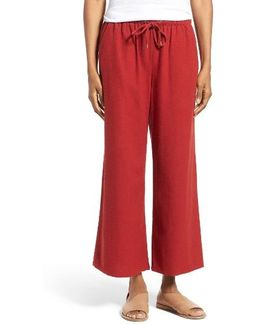Silk Noil Wide Leg Pants