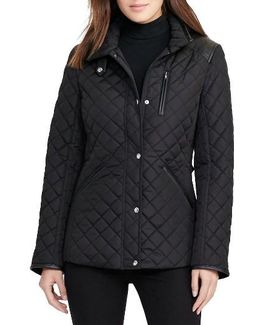 Faux Leather Trim Quilted Jacket