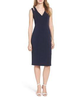 Cutout Shoulder Crepe Sheath Dress