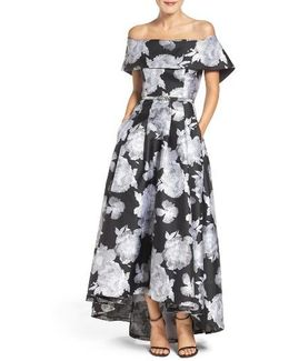 Belted Jacquard Off The Shoulder Gown