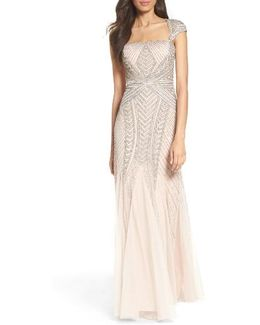 Envelope Embellished Mesh Gown