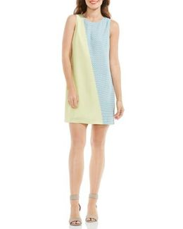 Modern Slant Colorblock Shift Dress