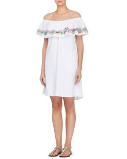 Leonie Embroidered Ruffle Shift Dress