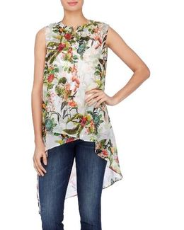 Livy Print High/low Tunic Blouse