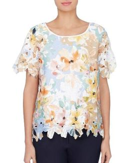Carroll Floral Print Lace Blouse