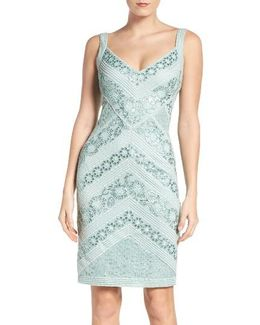 Sequin Mesh Sheath Dress