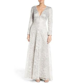 Metallic Embroidered Lace Maxi Dress