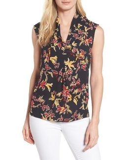 Print Pleat Front Top