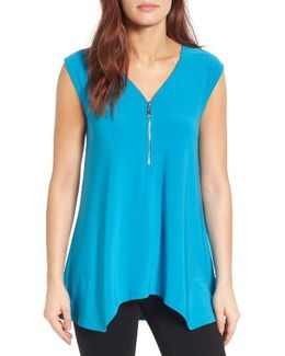 Zip V-neck Top