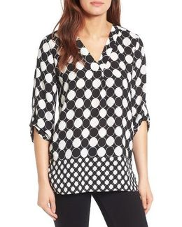 Checker Dot Roll Sleeve Blouse