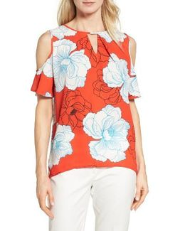 Peony Print Cold Shoulder Blouse
