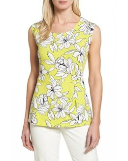Tropical Floral Side Pleat Top