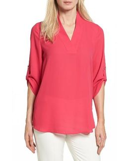 Trapunto Stitch Roll Sleeve Blouse