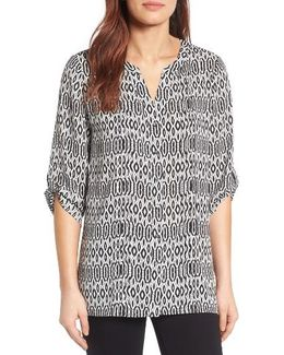 Roll Sleeve Print Blouse