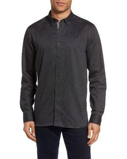 Lector Extra Slim Fit Dotted Circle Print Sport Shirt