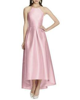 High/low Hem Sateen Halter Dress