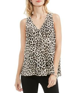 Leopard Song Drape Front Top